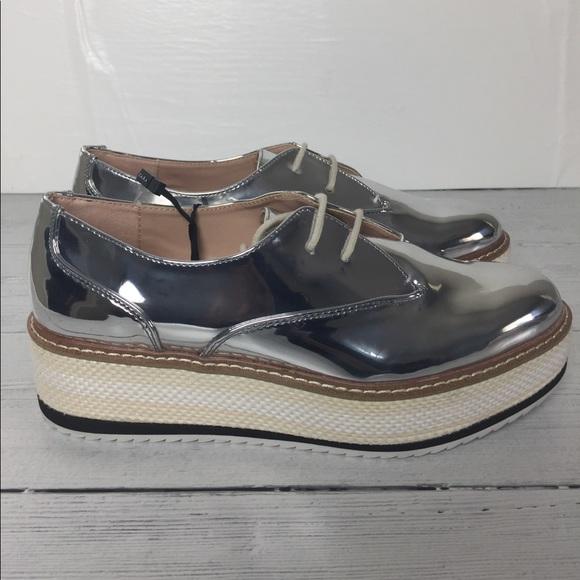 715eacbf208d Zara Silver Platform Derby Shoes Size 7.5